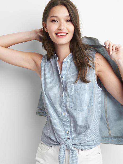 Kadın mavi çizgili Çizgili kolsuz önden bağlamalı gömlek
