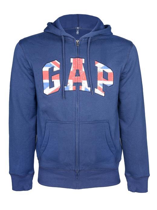 Erkek mavi Logolu kapüşonlu sweatshirt