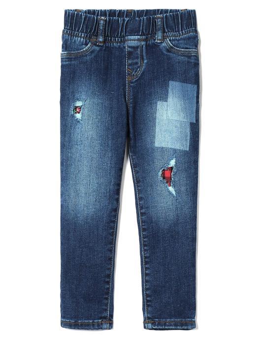 Yamalı jean pantolon