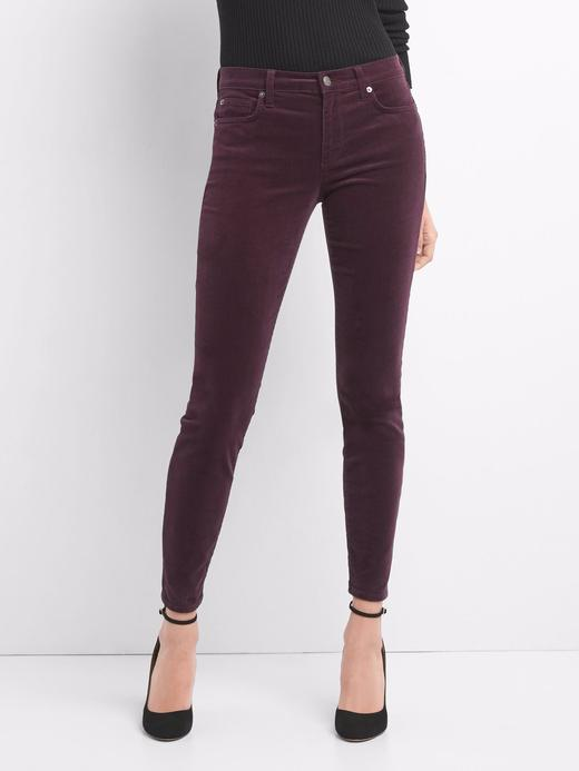 Skinny orta belli streçli kadife pantolon
