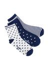 Kız Çocuk mavi 3'lü desenli çorap
