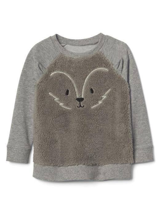 gri Grafik desenli yumuşak sweatshirt