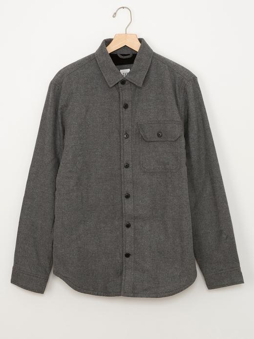 Erkek gri Sherpa astarlı ceket gömlek