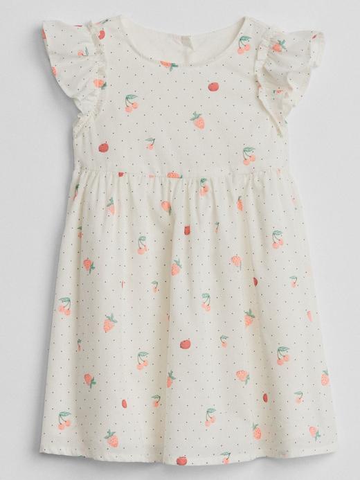 Bebek renkli Desenli fırfır kollu elbise