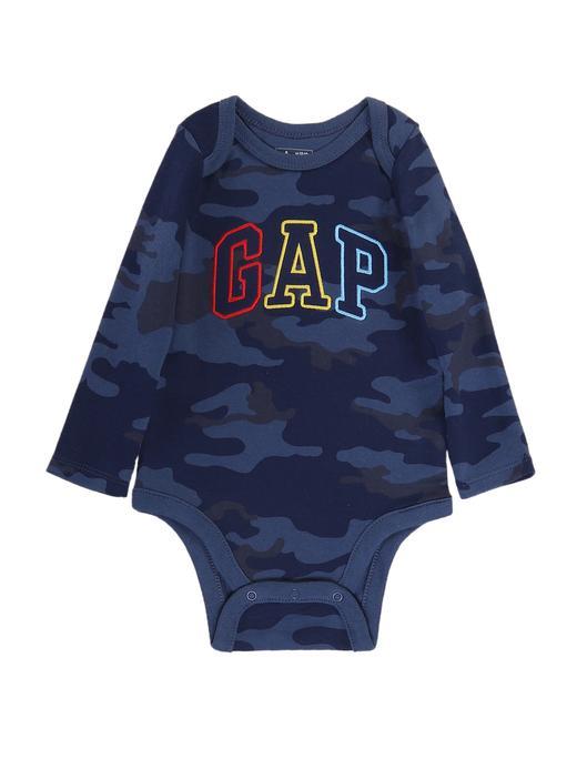 Bebek mavi Logolu desenli uzun kollu body