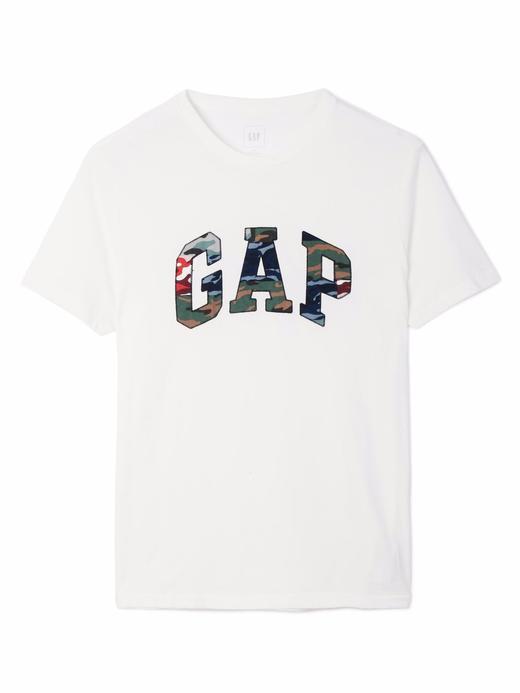 kırık beyaz Logolu kamuflaj desenli kısa kollu -shirt