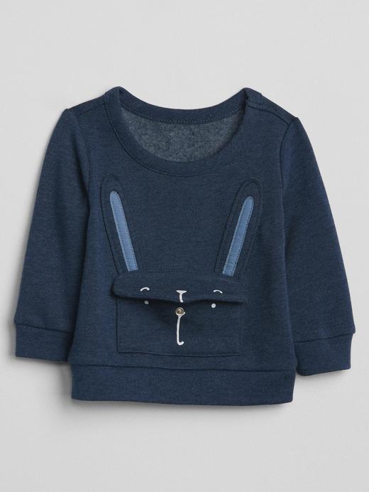 kırçıllı lacivert Tavşan desenli sweatshirt