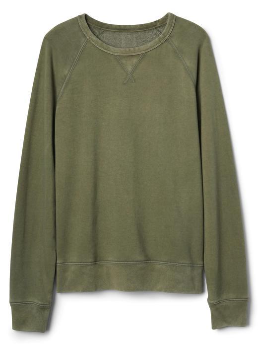 haki Sıfır yaka fransız havlu kumaşı sweatshirt