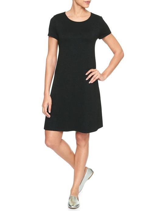 Siyah Softspun kısa kollu elbise