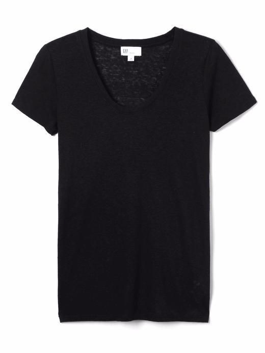 Siyah Keten Karışımlı Kısa Kollu T-Shirt