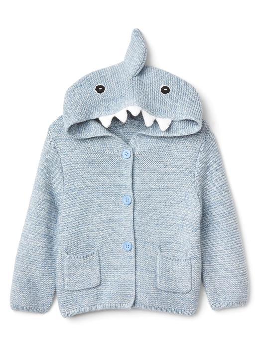 kırçıllı mavi Köpek balığı kapüşonlu hırka