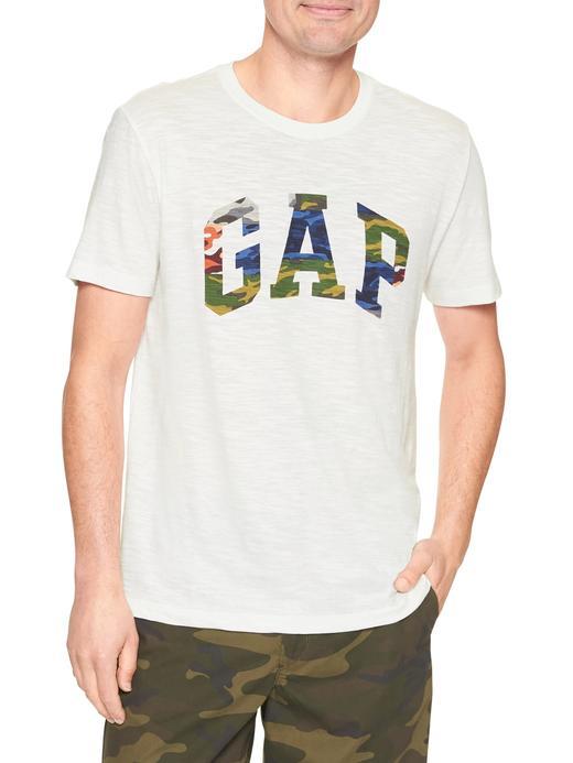 Logolu kamuflaj desenli kısa kollu -shirt