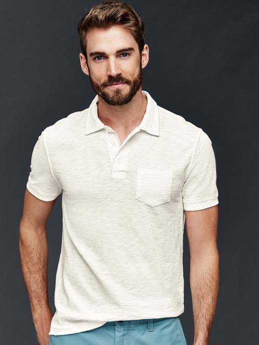 Erkek kırık beyaz Slub polo yaka t-shirt