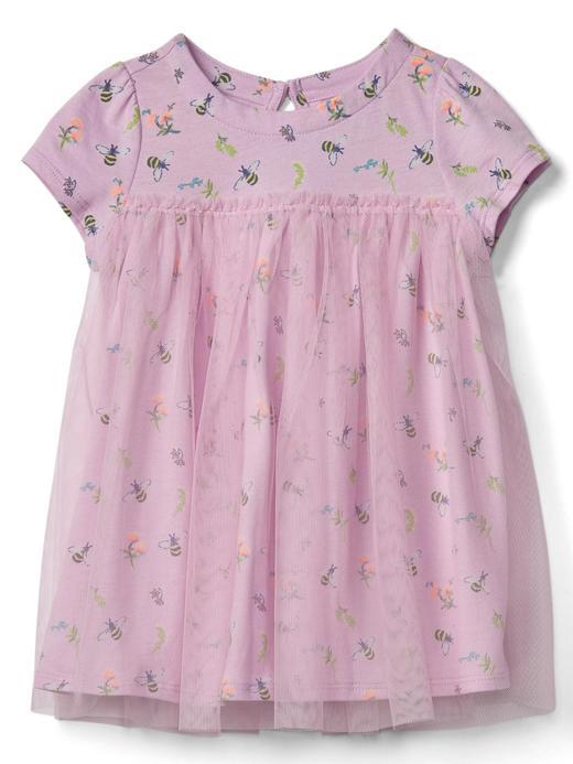 Bebek lila çizgili Kısa kollu tül elbise