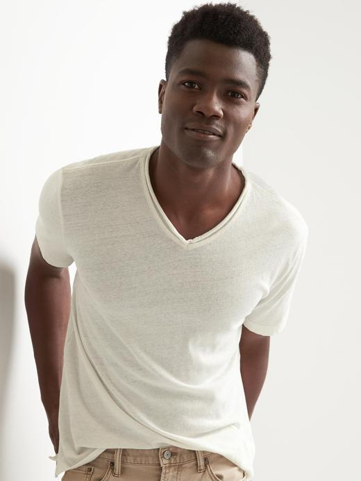 kirli beyaz Pamuk-keten V yaka t-shirt