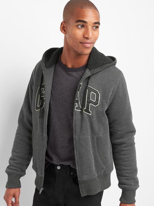 Logolu polar kapüşonlu sweatshirt