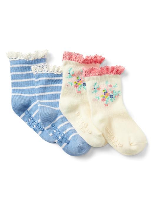 renkli 2'li desenli çorap
