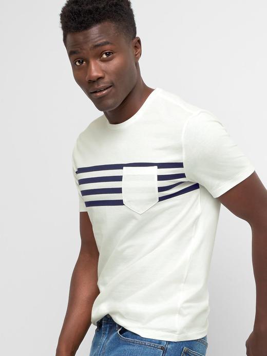 Erkek Beyaz Çizgili kısa kollu t-shirt