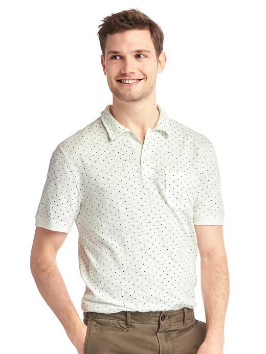 Beyaz Benekli jarse polo yaka t-shirt