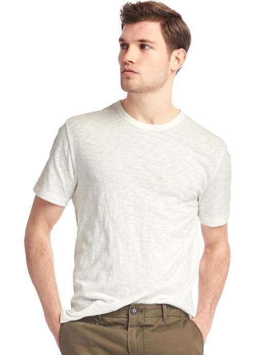 kırık beyaz Bisiklet yaka slub t-shirt