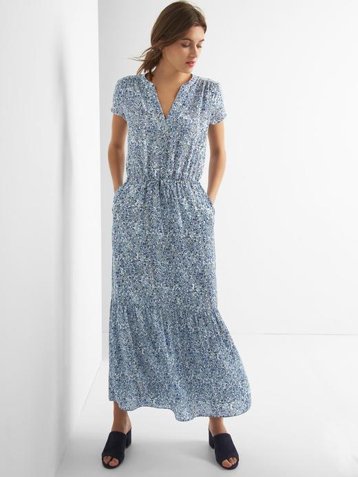 c1bb04188f04f Outlet Mavi Kısa kollu uzun elbise 307536922 | GAP