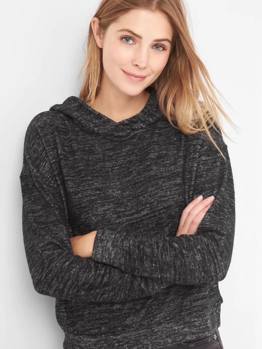 Siyah Softspun Şal Yaka Kapüşonlu Sweatshirt