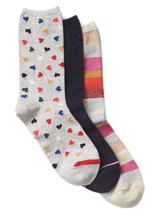 Kadın gri 3'lü desenli çorap