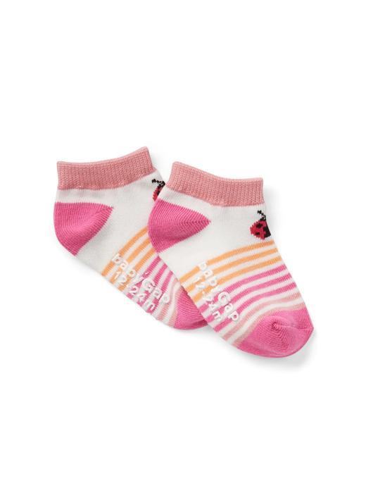 Bebek Renkli Çizgili grafik desenli çorap