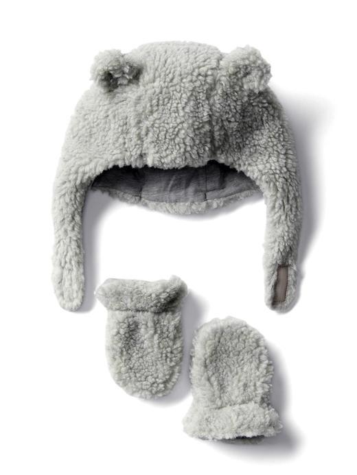 Bebek gri Cozy şapka eldiven seti
