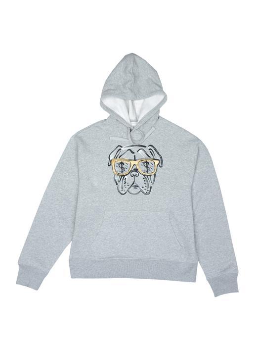 gri Desenli kapüşonlu sweatshirt