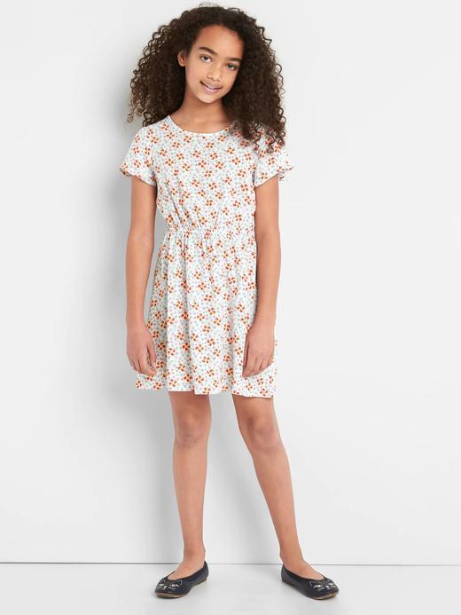 Kız Çocuk Renkli Desenli kısa kollu elbise