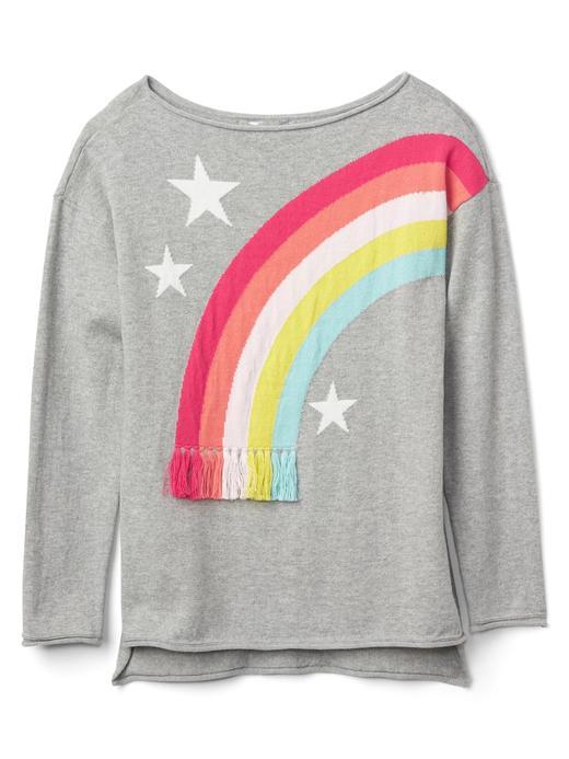 Gökkuşağı desenli kayık yaka sweatshirt