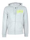 gri Logolu fermuarlı kapüşonlu sweatshirt