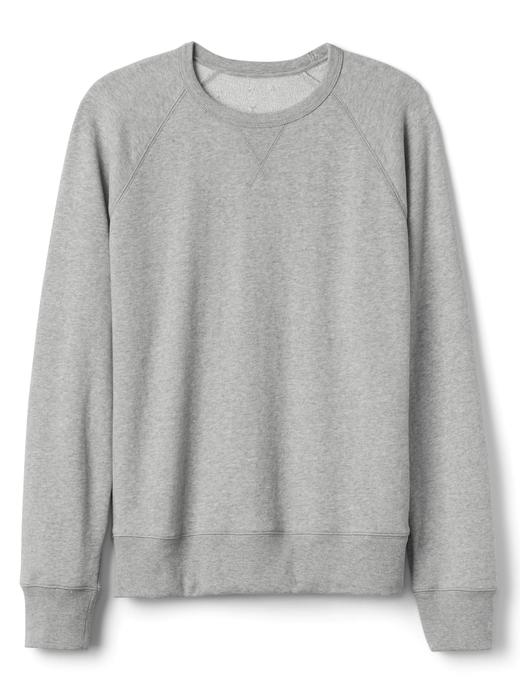 Erkek gri Sıfır yaka fransız havlu kumaşı sweatshirt