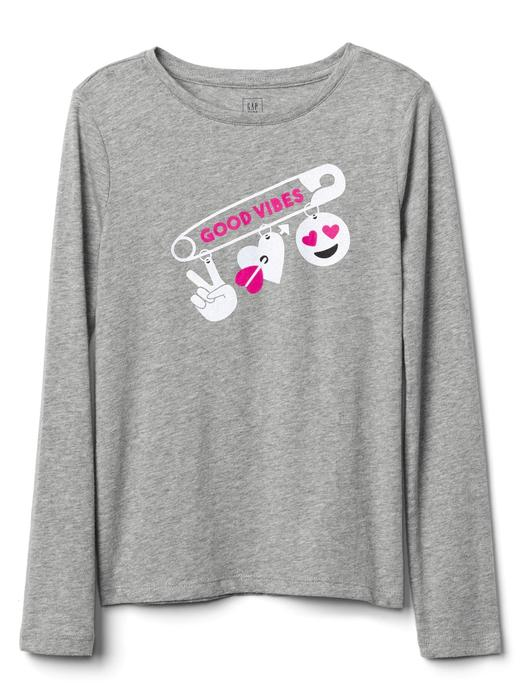 Kız Çocuk açık gri Grafik desenli uzun kollu t-shirt