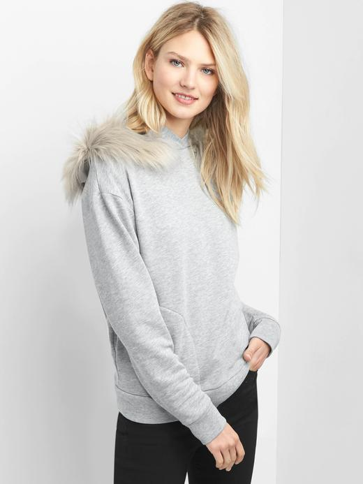 Suni kürk detaylı sweatshirt