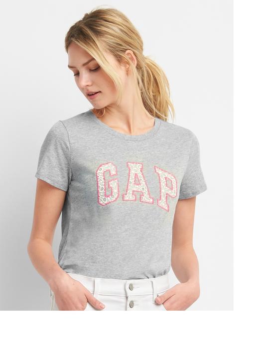 Logolu dantel detaylı kısa kollu t-shirt