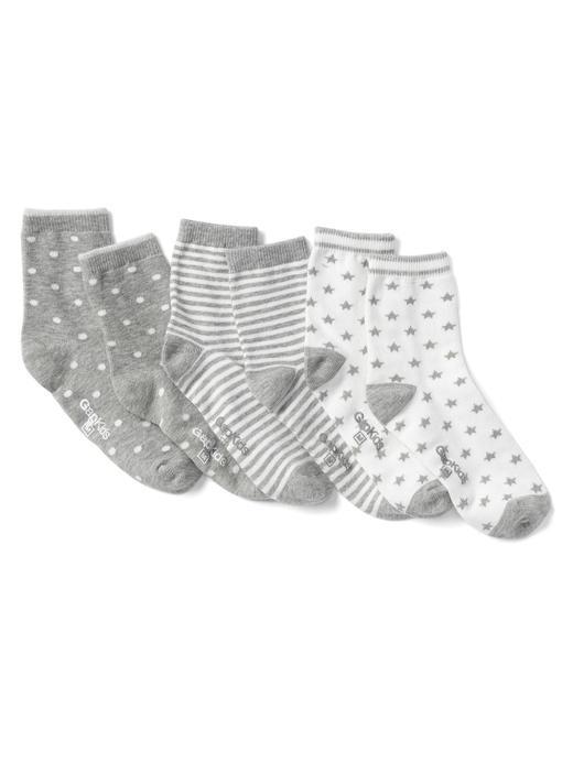 açık pembe 3'lü desenli çorap