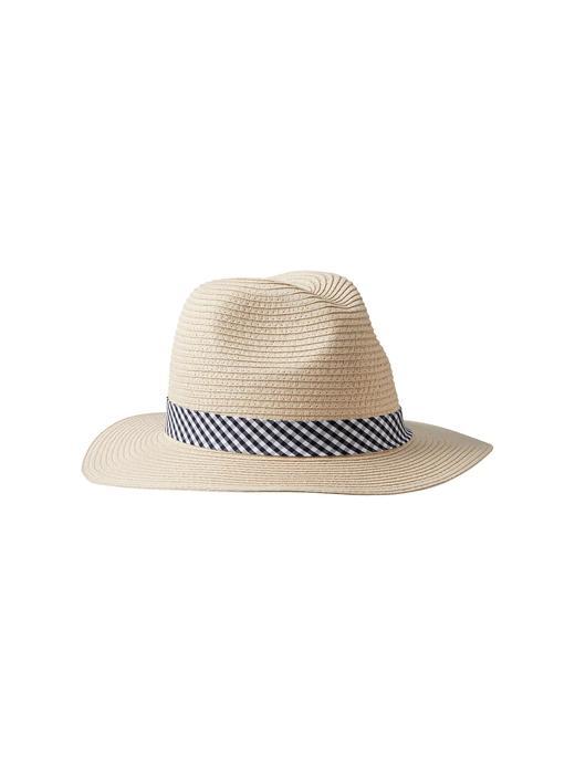 Ekose detaylı hasır şapka