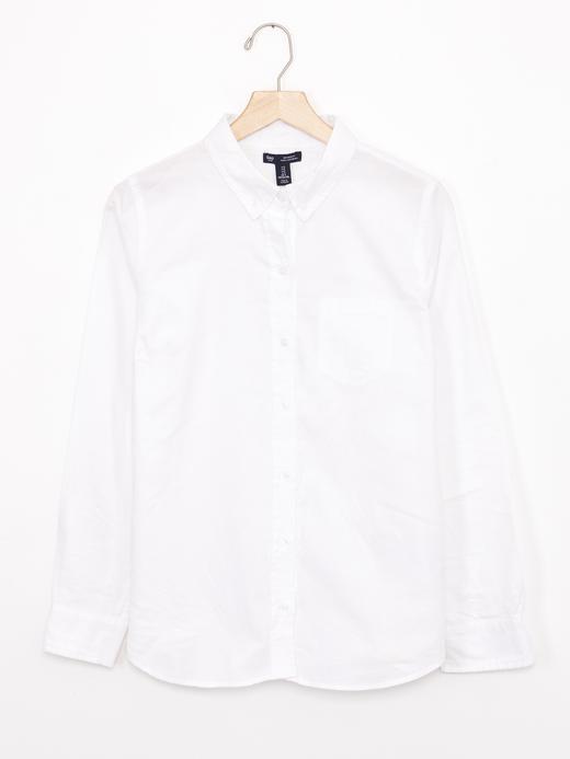 Kadın beyaz Oxford boyfriend gömlek