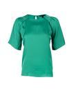 Kadın yeşil Kısa Kollu Saten Bluz