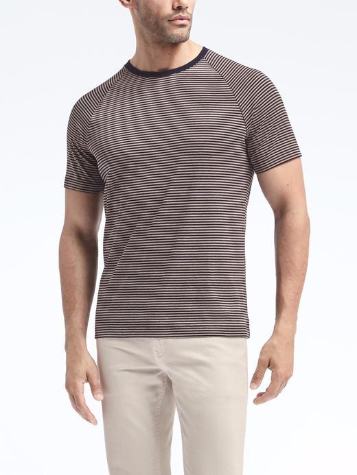 Luxury-Touch Çizgili Reglan Kollu Sıfır Yaka T-Shirt