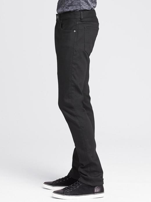 Erkek siyah Siyah Slim Traveler Jean Pantolon