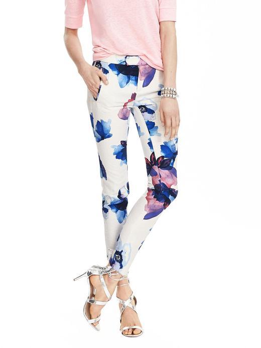Kadın çiçek desenli Ryan-Fit çiçek desenli Slim-Straight Pantolon
