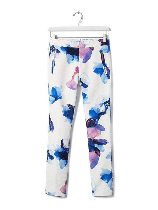 Ryan-Fit çiçek desenli Slim-Straight Pantolon