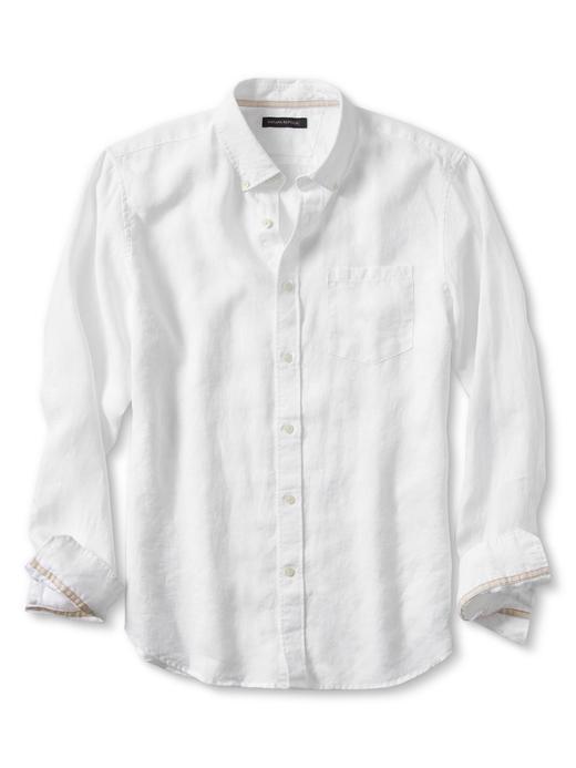 Camden-Fit Beyaz Keten Gömlek