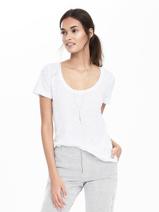 Kadın Beyaz Slub kayık yaka t-shirt
