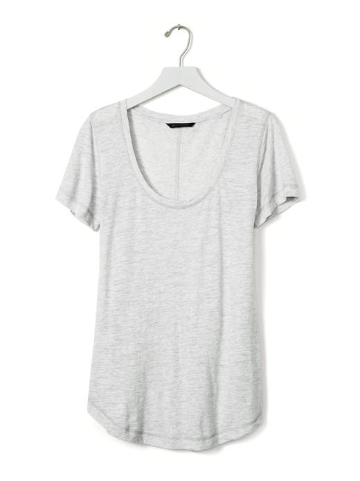Kadın yavru ağzı Slub kayık yaka t-shirt