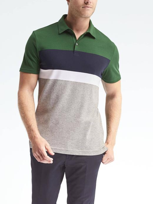 Luxury-Touch çizgili polo yaka t-shirt