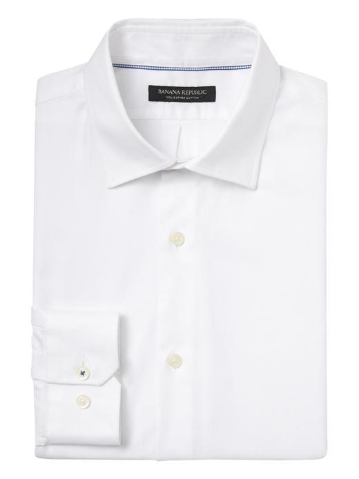 Erkek Beyaz Camden Standard-Fit Streçsiz Ütü Gerektirmeyen Gömlek